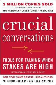 "Book cover that reads, ""Crucial Conversations""."