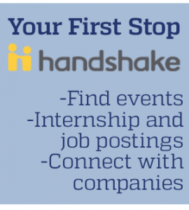 Log into Handshake to find events, internship and job postings, and connect with companies