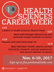 Health sciences Career Week flyer: seven events