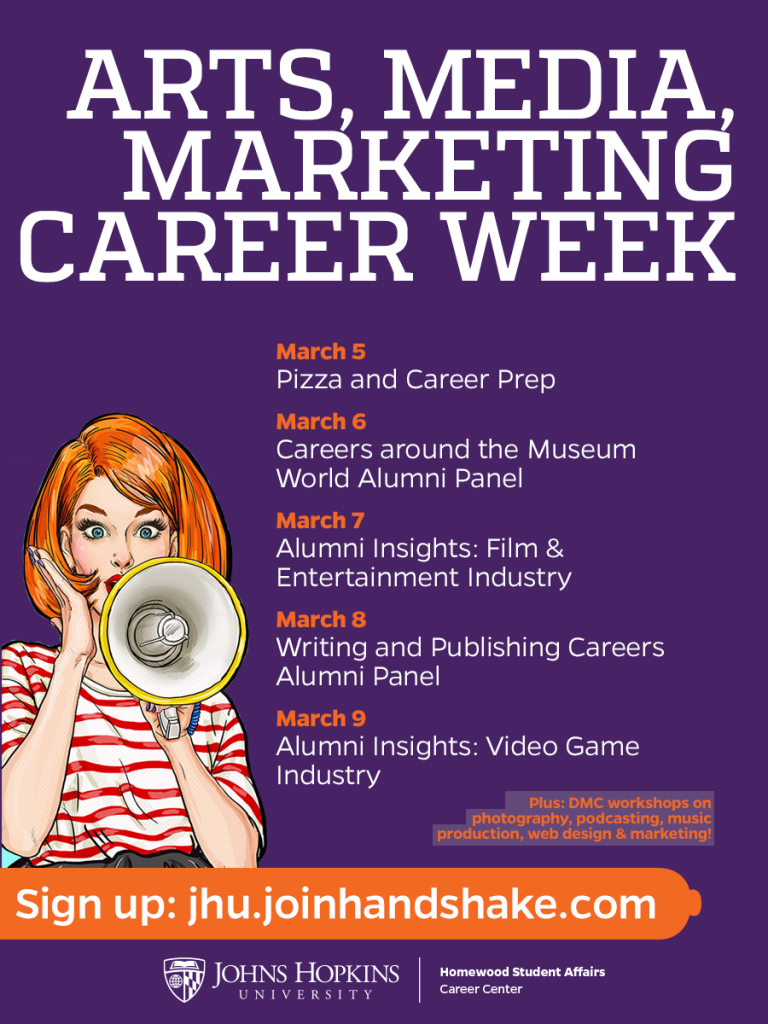 Arts, Media and Marketing Career Week flyer