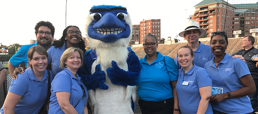 Career Center staff with Blue Jay mascot at orientation