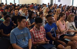 Students in orientation launch group sitting in rows
