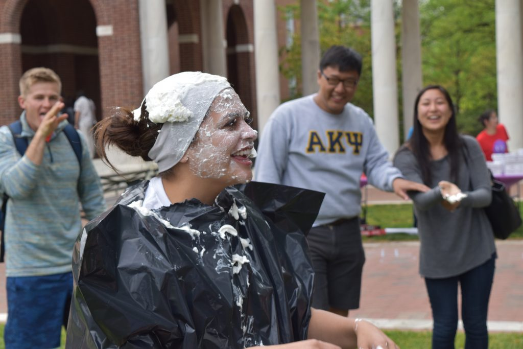 "an RA after having been ""pied"" at Relay for Life"