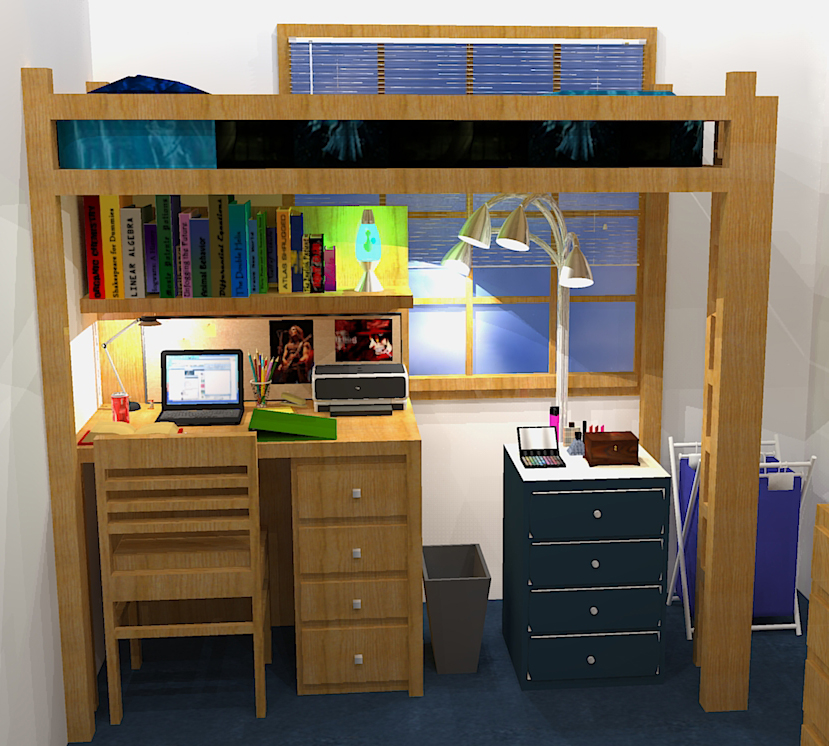 Fully Lofted Bed Dorm