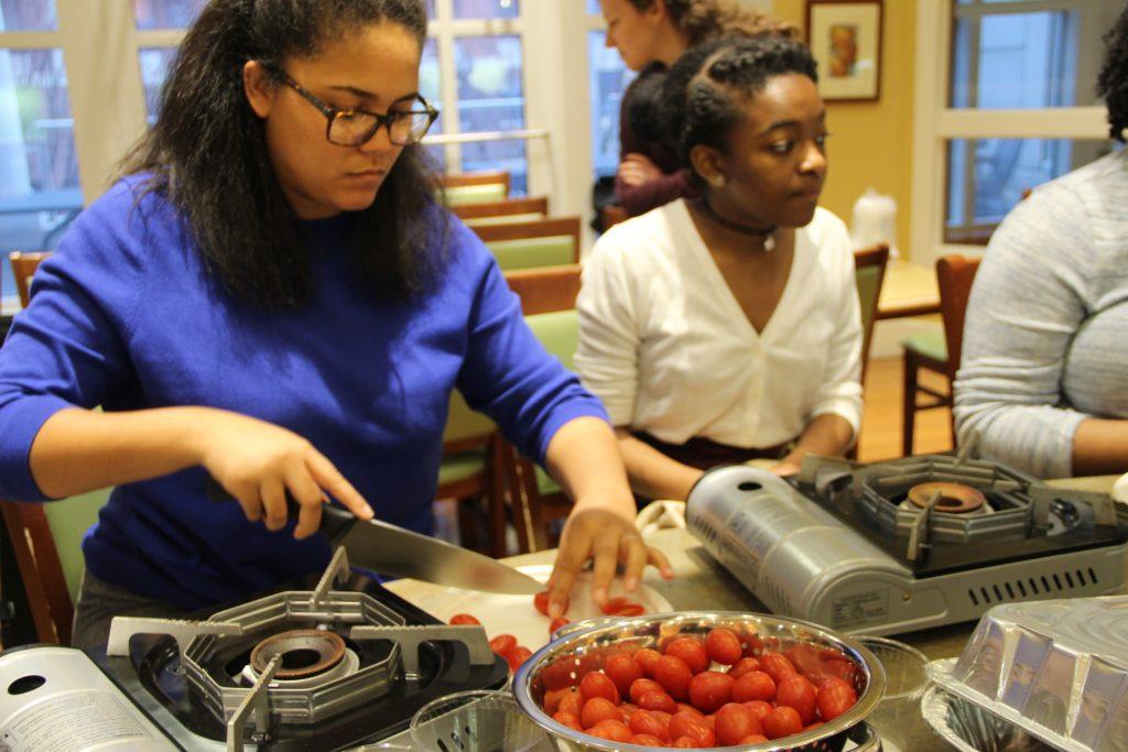 Students preparing ingredients.