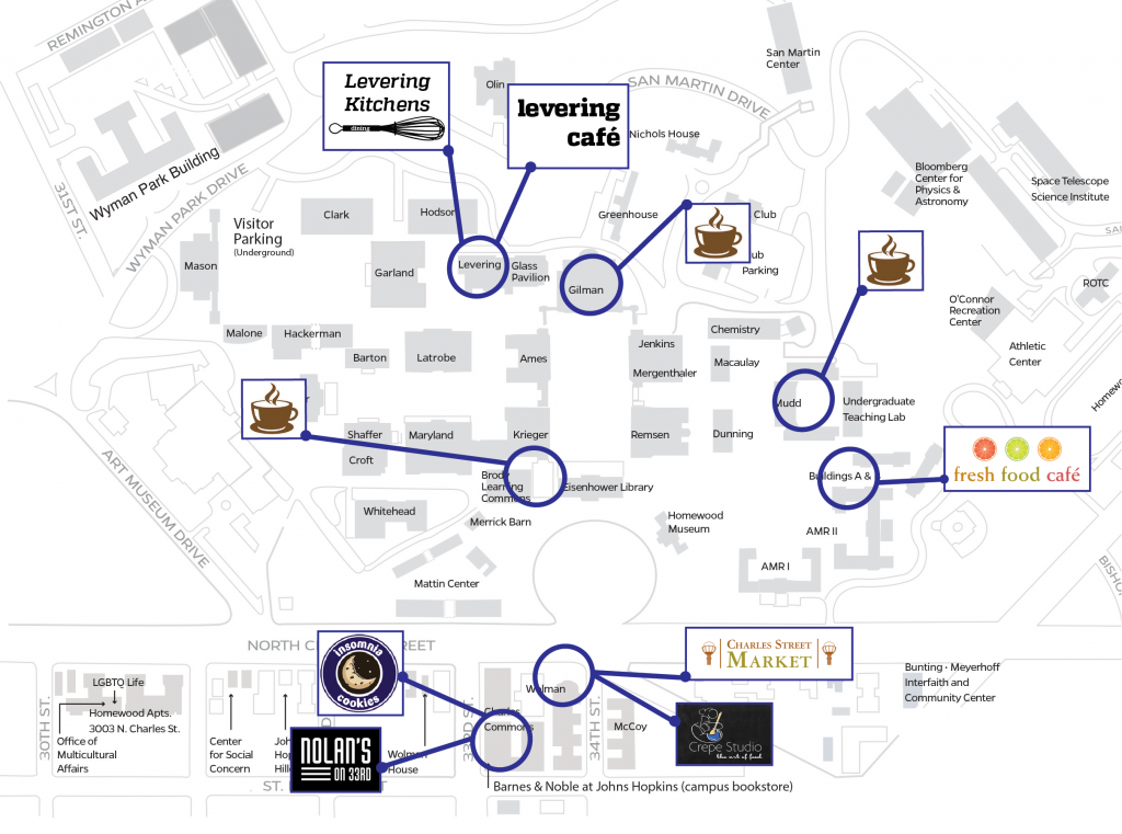 Map of campus dining locations