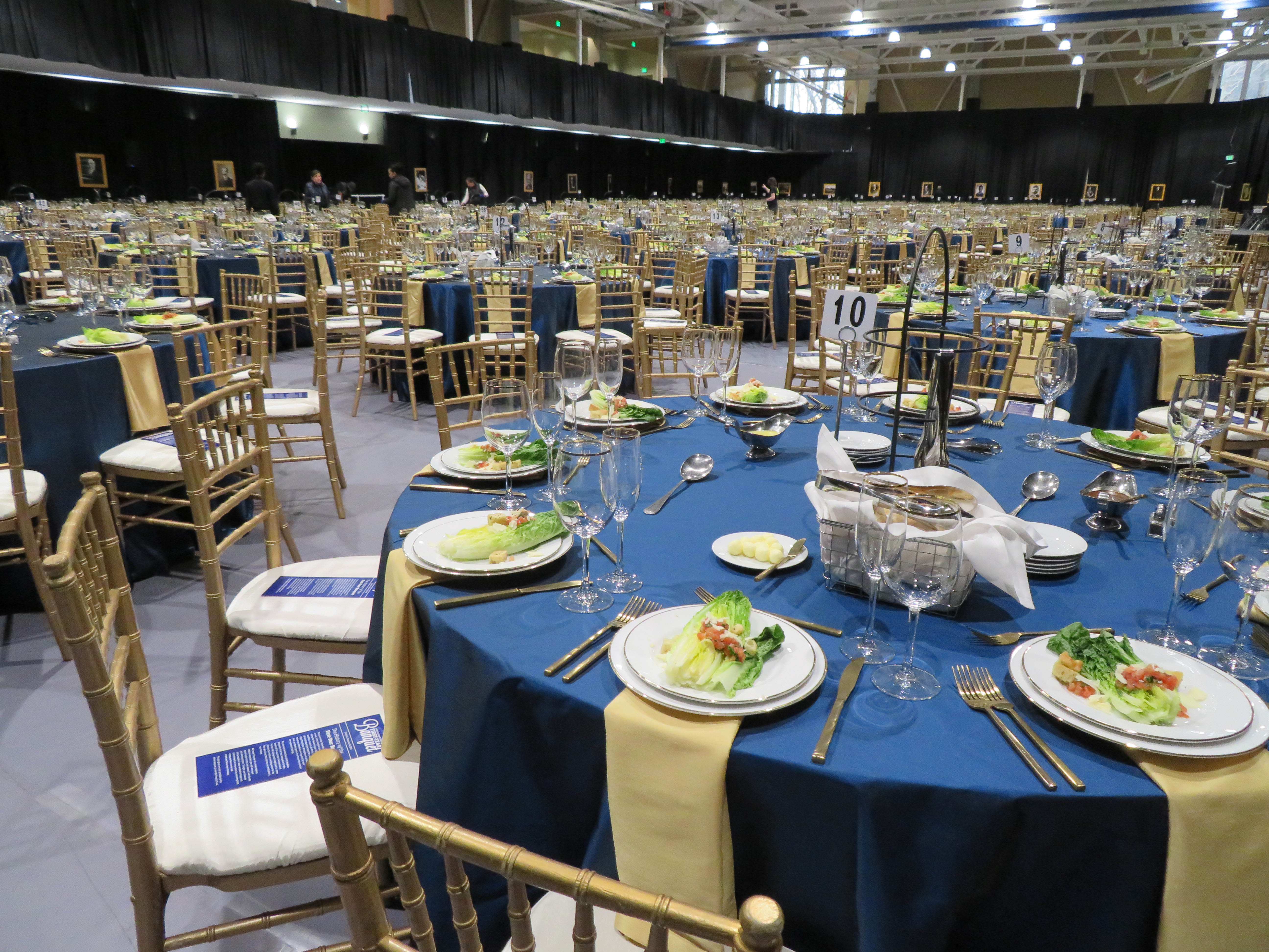 A view of the decorated tables and place settings at the First-Year Banquet.