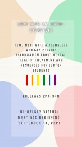 Chat with an LGBTQ+ Counselor @ Zoom (see signup below)
