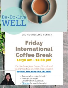 Friday International & Bicultural Student Coffee Break @ Zoom (see below to sign up)