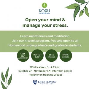 KORU Mindfulness Workshops @ Interfaith Center