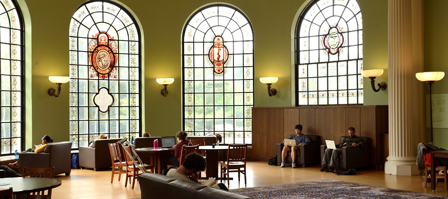 Students studying in the Hutzler Reading Room