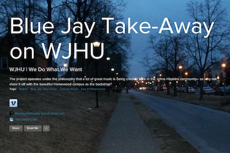 Poster for Blue Jay Takeaway on WJHU program