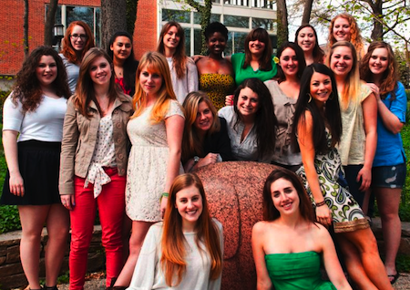 Group photo of the JHU Sirens a cappella group