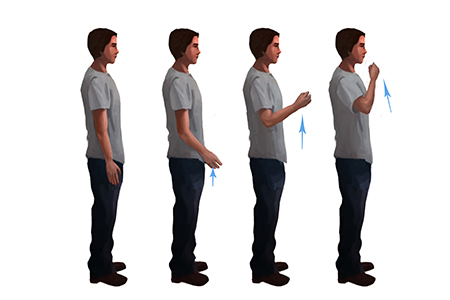 Diagram of standing figure moving arm from relaxed to upright position