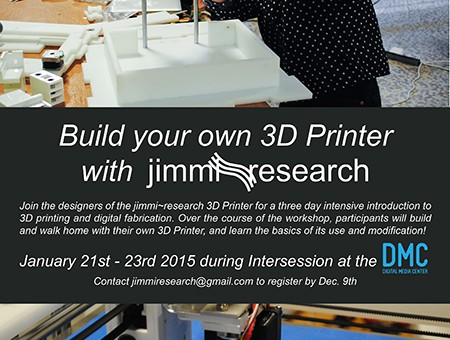 flyer advertising Jimmi research 3d printer workshop