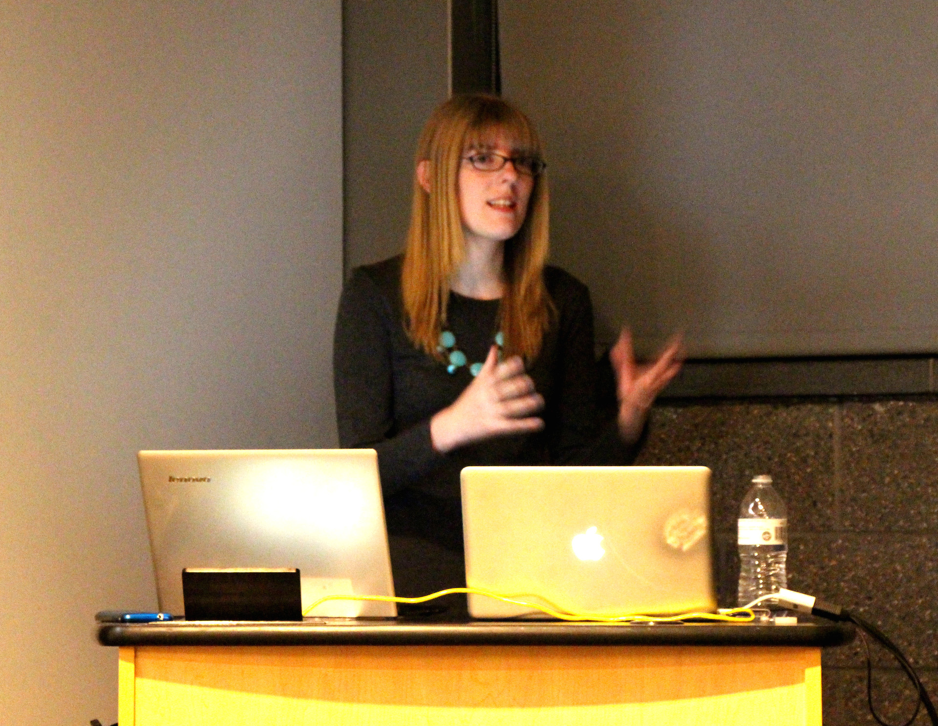 Stephanie Orme delivering her Women in Gaming talk