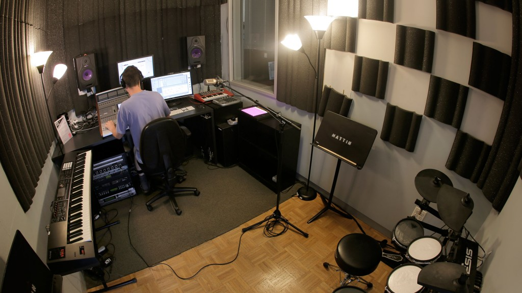 Student working in the DMC audio studio