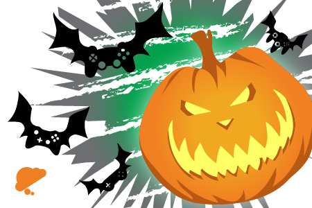 Cropped feature image of the Insanity Arcade Halloween Game Night internet banner