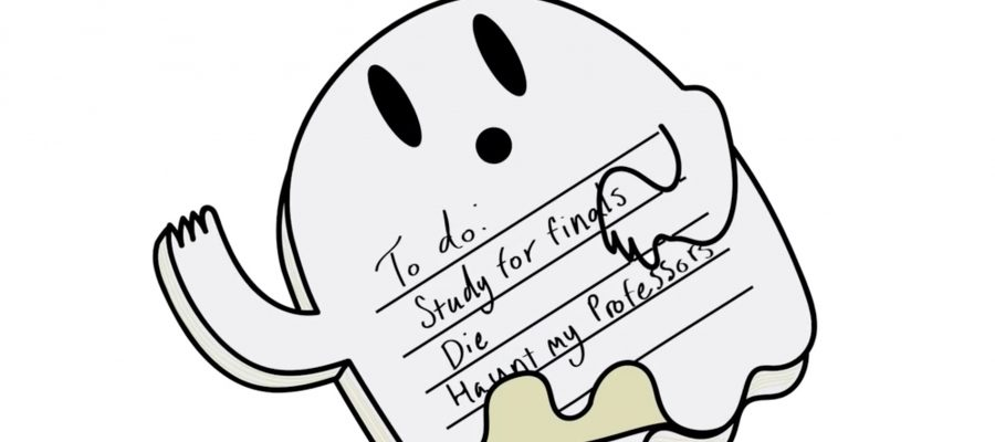 "An animated graphic of a ghost with the words, ""To Do: Study for finals, Die, Haunt my Professors"""