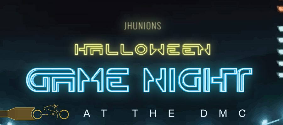 "Graphic artwork that reads, ""2017 Halloween Game Night"""