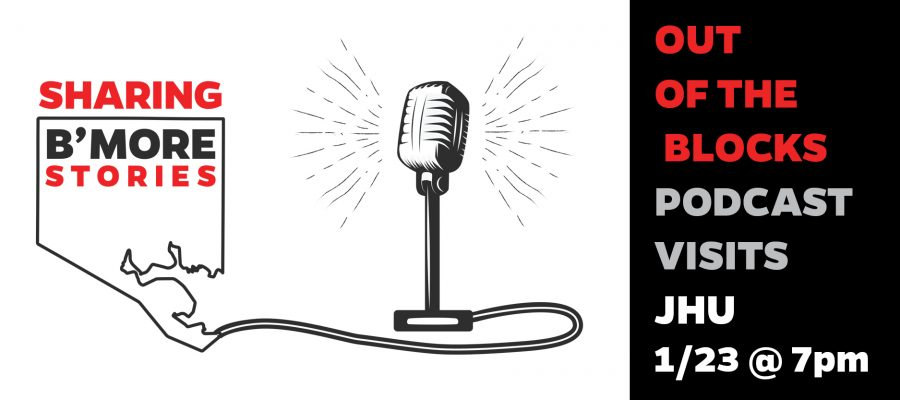 "A graphic design of a microphone and the cord that connects to the outline of the state of Maryland with the title, ""Sharing B'more Stories""."