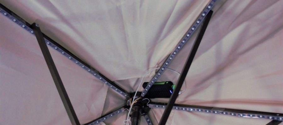 A close up of the LED lights on an umbrella. Umbrella