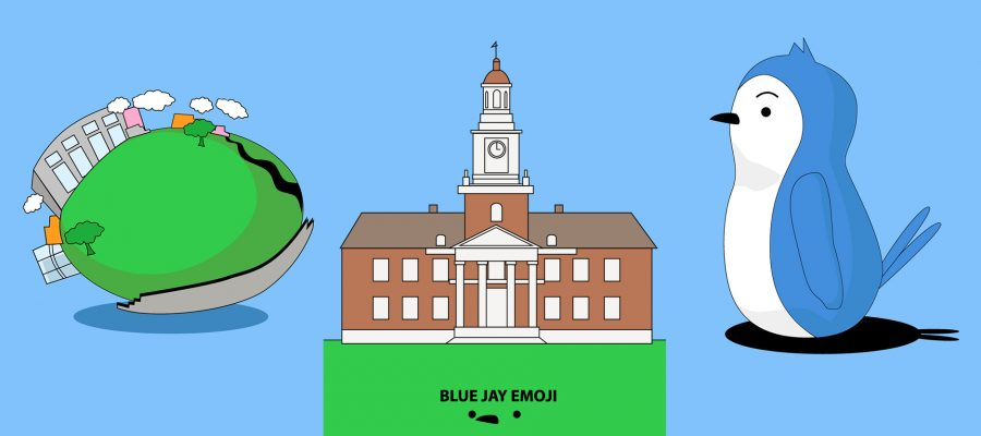 Animated images of a blue jay, Gilman Hall, and the Earth with buildings.