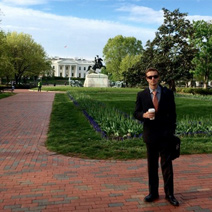 Justin standing in front of the White House.