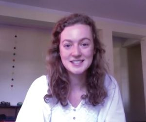 Screen capture of Julia from her Fulbright video.