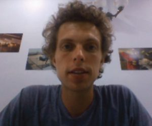 Screen capture of Noah from his Fulbright video.