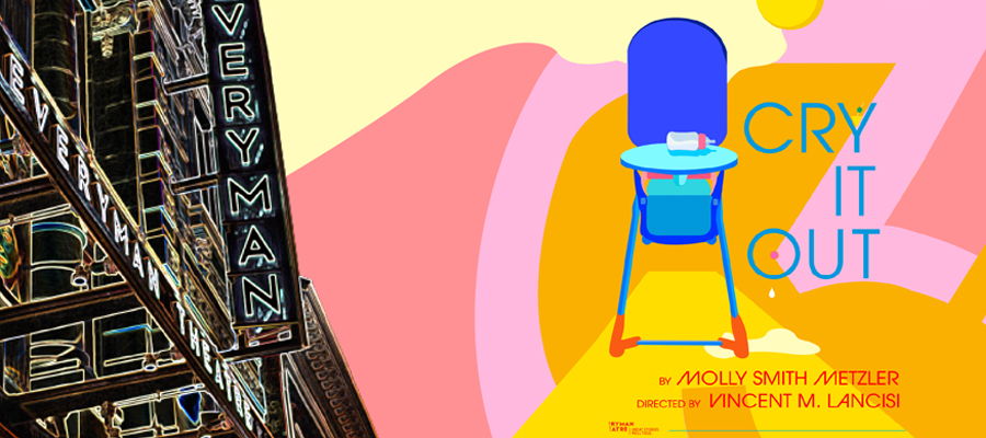 Cry It Out poster featuring stylized high chair and baby bottle.