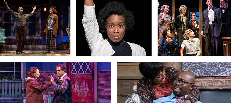 Collage of scenes from various performances at Everyman Theatre.