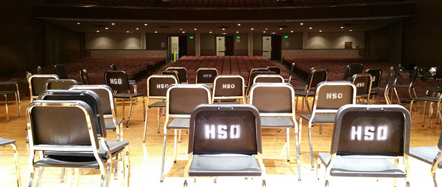 Empty chairs sit in Shriver Hall
