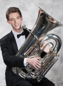 Conor Hammonds holding tuba.