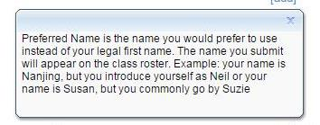 Screenshot: Faculty members will be able to see both your legal name and your preferred name on their course rosters.