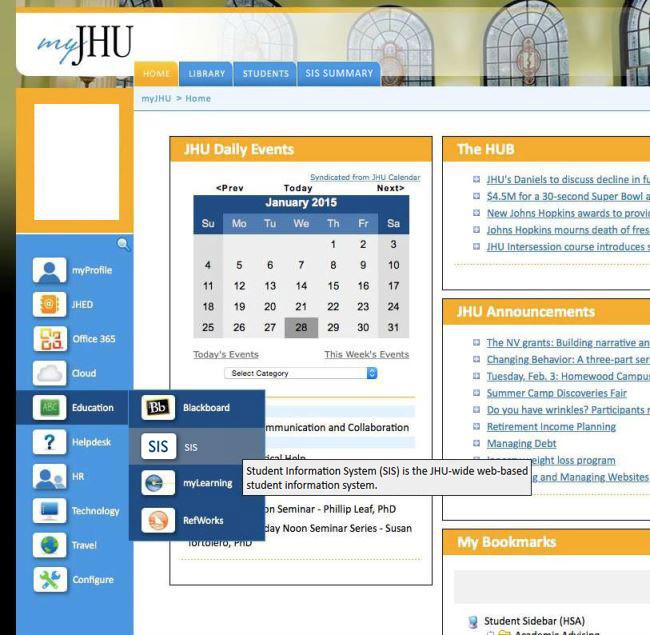 Screenshot of myJH Portal