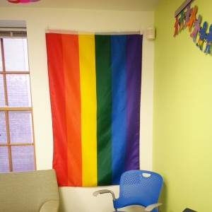 Rainbow flag hanging in LGBTQ Office