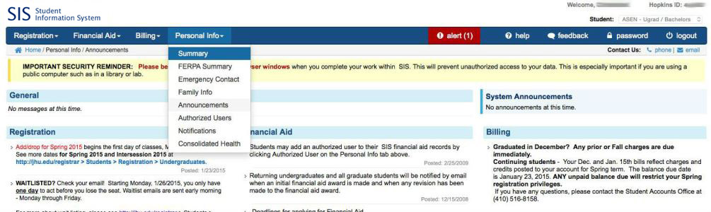 Screenshot of SIS dashboard
