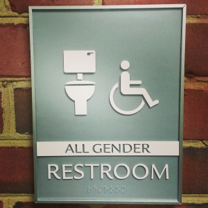 All Gender Restroom sign with a toilet image
