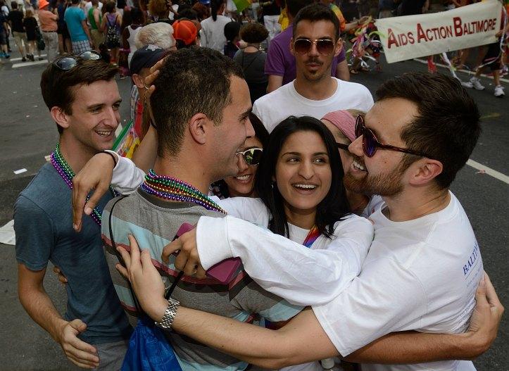 hugs at the Pride Parade