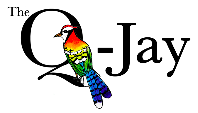 text: the Q-Jay with a rainbow-colored blue jay perched in the Q