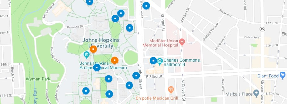 map of JHU Homewood campus