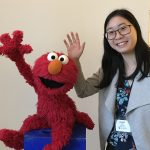 Laura Oing with Elmo