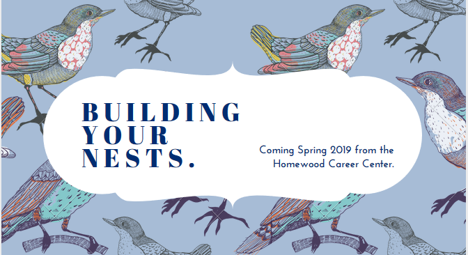 birds on a blue background for building your nests: spring 2019 announcement.