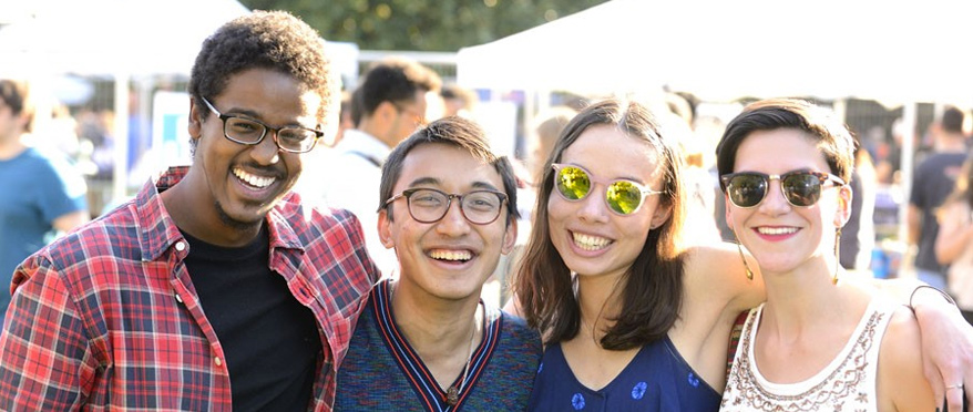 Students smiling during Spring Fair