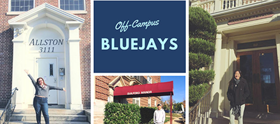 Off-campus locations with students standing at the front door.