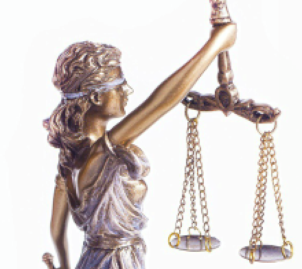 The graphic image of Lady Justice, blindfolded and holding the weights of justice.