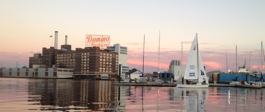 Sailboat on the Harbor with Domino Sugar sign in background