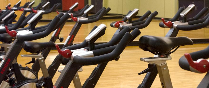 Recumbent bikes in a row