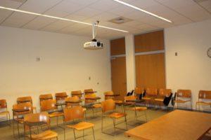 Empty classroom in Gilman Hall